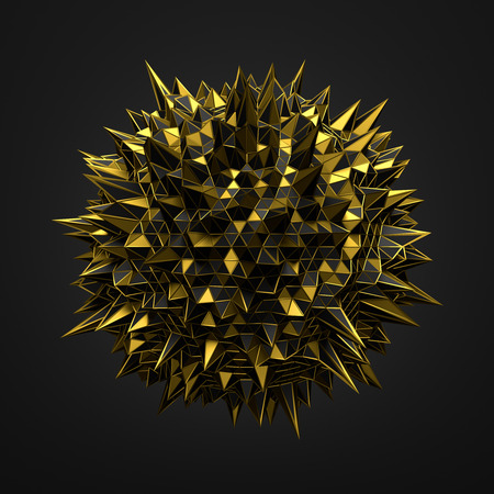 black gold: Abstract 3d rendering of gold chaotic structure. Dark background with wireframe. Futuristic shape.