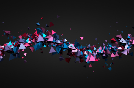 tech: Abstract 3d rendering of chaotic particles. Futuristic pyramids in empty space. Sci-fi background.