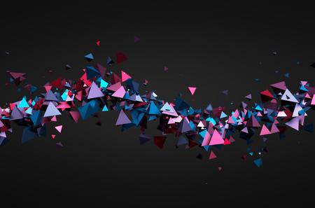 Résumé de rendu 3D de particules chaotiques. Pyramides futuriste dans l'espace vide. Sci-fi fond. Banque d'images - 44865457