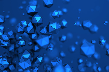blue abstract: Abstract 3d rendering of chaotic particles. Low poly spheres in empty space. Futuristic background.