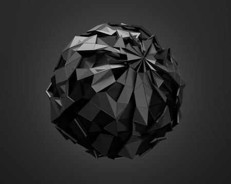 カオス構造で低ポリ黒球の 3 d レンダリングを抽象化します。サイエンス フィクションの背景にワイヤ フレーム、空の領域での世界。未来的な形状 写真素材