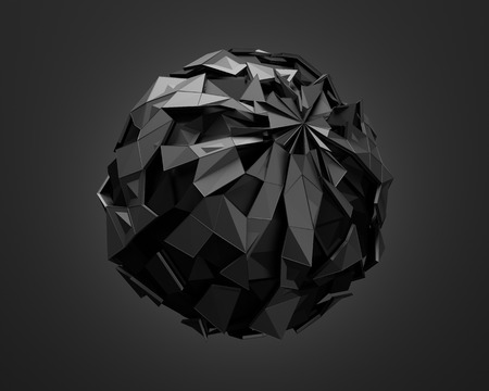 Abstract 3d rendering of low poly black sphere with chaotic structure. Sci-fi background with wireframe and globe in empty space. Futuristic shape. Stockfoto