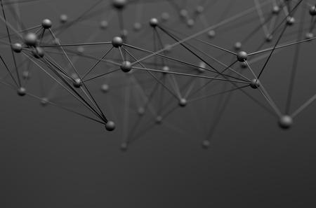 Résumé de rendu 3D de la structure chaotique. Arrière-plan avec des lignes et des sphères dans l'espace vide. Forme futuriste. Banque d'images - 44929817