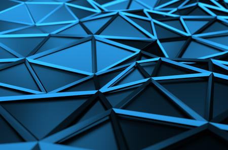 Abstract 3d rendering of blue surface. Background with futuristic low poly shape.