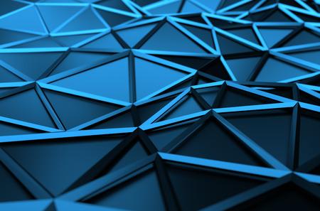 fondos azules: Resumen 3D de la superficie azul. De fondo con forma de poli baja futurista. Foto de archivo