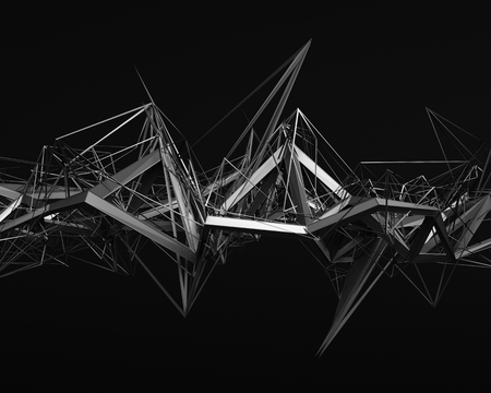 Abstract 3d rendering of chaotic structure. Dark background with futuristic shape in empty space.