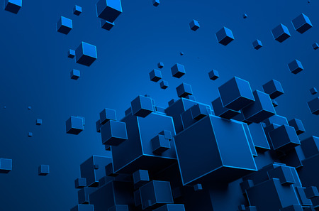 Abstract 3d rendering of chaotic particles. Futuristic cubes in empty space. Sci-fi background. Stockfoto
