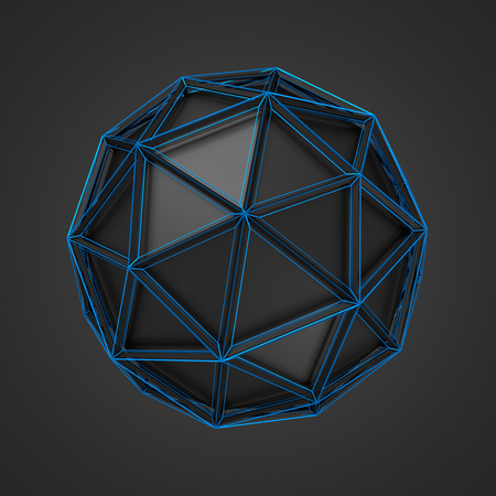 scifi: Abstract 3d rendering of low poly black sphere. Sci-fi background with wireframe and globe in empty space. Futuristic shape. Stock Photo