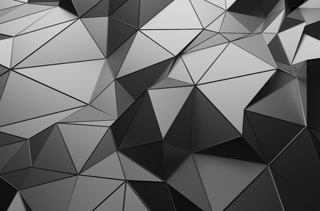 Abstract 3d rendering of dark surface. Background with futuristic low poly shape. Stockfoto