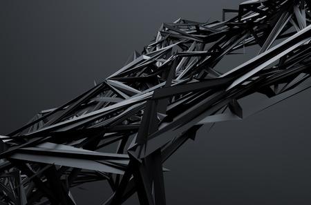 Résumé de rendu 3D de la structure chaotique. Fond sombre avec une forme futuriste dans l'espace vide. Banque d'images - 44929831