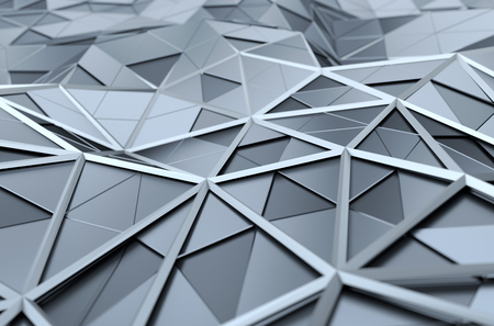 chrome: Abstract 3d rendering of chrome surface. Background with futuristic polygonal shape.