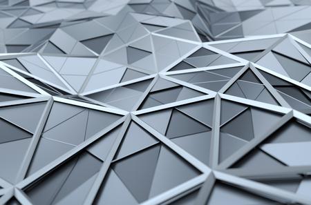 cromo: Resumen representación 3D de superficie de cromo. Fondo con forma poligonal futurista. Foto de archivo