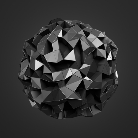 Abstract 3d rendering of polygonal dark sphere with chaotic structure. Sci-fi background with wireframe and globe in empty space. Futuristic shape.