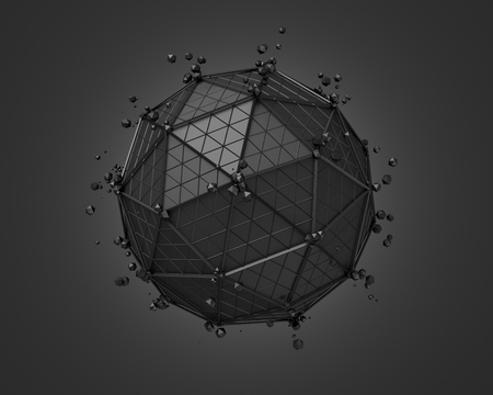 scifi: Abstract 3d rendering of polygonal black sphere. Sci-fi background with wireframe and globe in empty space. Futuristic shape. Stock Photo