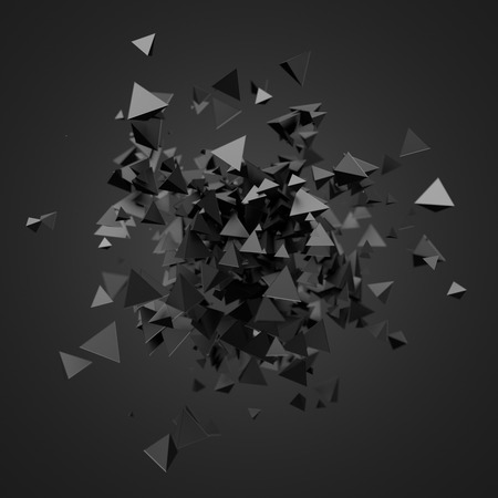 scifi: Abstract 3d rendering of chaotic particles. Futuristic pyramids in empty space. Sci-fi background.