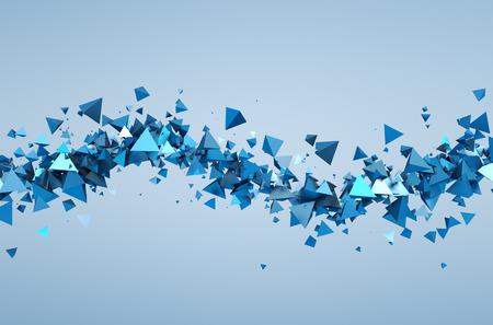 Kaotik parçacıkların Özet 3d render. Boş uzayda piramitleri Geçmiş.