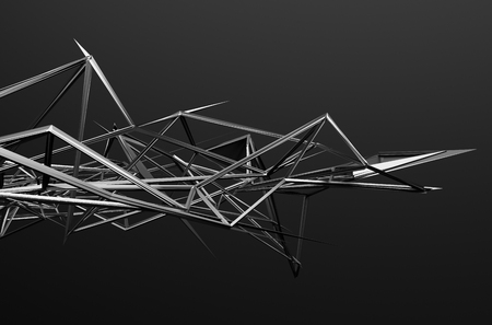 depth: Abstract 3d rendering of chaotic structure. Dark background with futuristic shape in empty space.