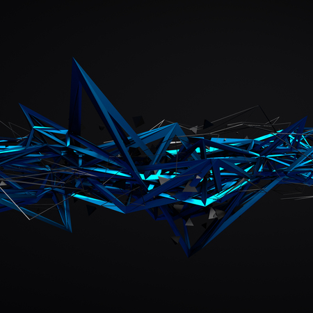 lines wallpaper: Abstract 3d rendering of chaotic structure. Dark background with futuristic shape in empty space.