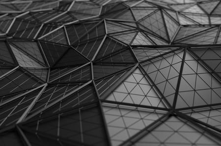 黒の表面の 3d レンダリングを抽象化します。未来的な多角形の図形と背景。