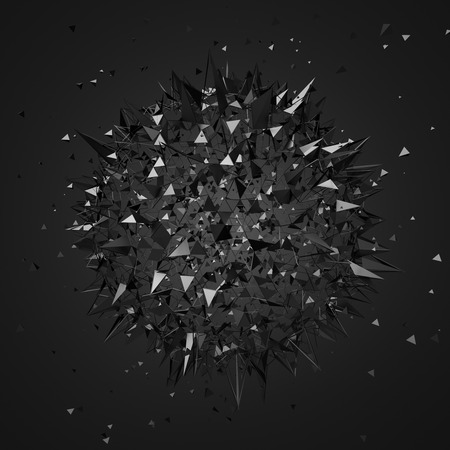 Abstract 3d rendering of chaotic particles. Futuristic shape in empty space. Sci-fi background.