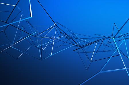 fondos azules: Resumen 3D de estructura metálica caótica. Fondo azul con líneas de cromo en el espacio vacío. perfil de acero futurista.