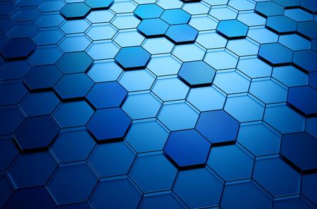 perspectiva lineal: Resumen representación 3D de superficie futurista con hexágonos. Fondo de ciencia-ficción. Foto de archivo