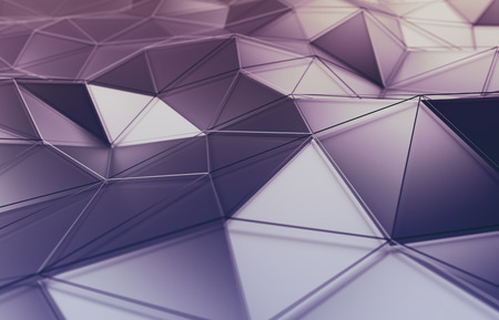 Abstract 3d rendering of polygonal surface. Background with futuristic lines and low poly shape.