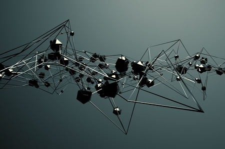steel structure: Abstract 3d rendering of chaotic metal structure. Dark background with chrome lines and low poly spheres in empty space. Futuristic steel shape. Stock Photo