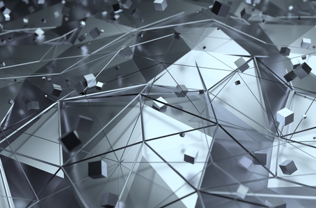 perspectiva lineal: Resumen representaci�n 3D de superficie con cubos aleatorios. Fondo con l�neas futuristas y bajo la forma de poli.