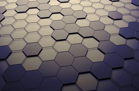Abstracte 3D-rendering van futuristische oppervlak met zeshoeken. Sci-fi achtergrond.