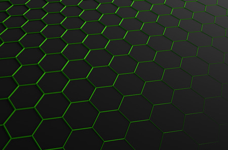 perspectiva lineal: Abstract 3d rendering of futuristic surface with hexagons. Sci-fi background.