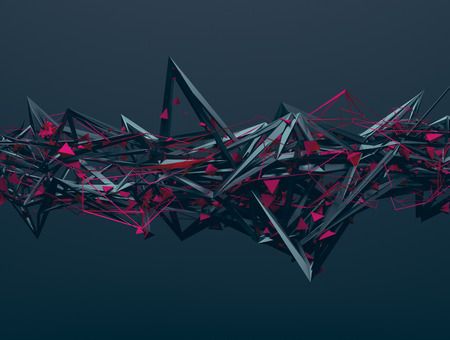 Abstract 3d rendering of chaotic structure. Dark background with futuristic shape in empty space. Banco de Imagens - 47415676