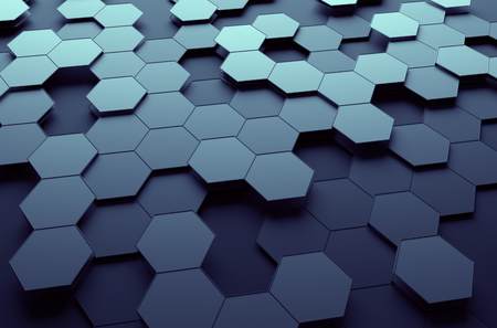 connection: Abstract 3d rendering of futuristic surface with hexagons. Dark sci-fi background.