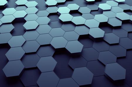 abstract: Abstract 3D-rendering van futuristische oppervlak met zeshoeken. Dark sci-fi achtergrond. Stockfoto