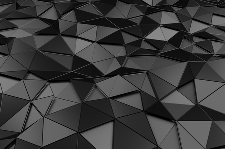 black: Abstract 3d rendering of black surface. Background with futuristic polygonal shape. Stock Photo
