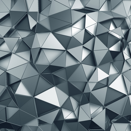 Abstract 3d rendering of metal surface. Background with futuristic polygonal shape.