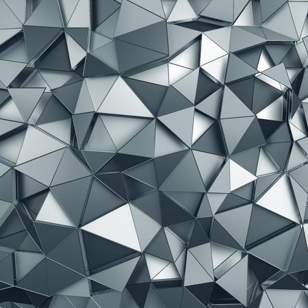 abstract: Abstract 3D-rendering van metalen oppervlak. Achtergrond met futuristische veelhoekige vorm.