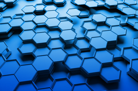 dark blue background: Abstract 3d rendering of futuristic surface with hexagons. Blue sci-fi background.
