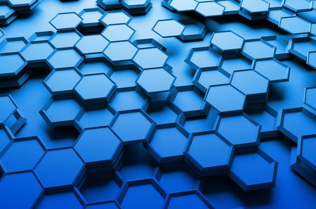 Abstracte 3D-rendering van futuristische oppervlak met zeshoeken. Blauwe sci-fi achtergrond. Stockfoto