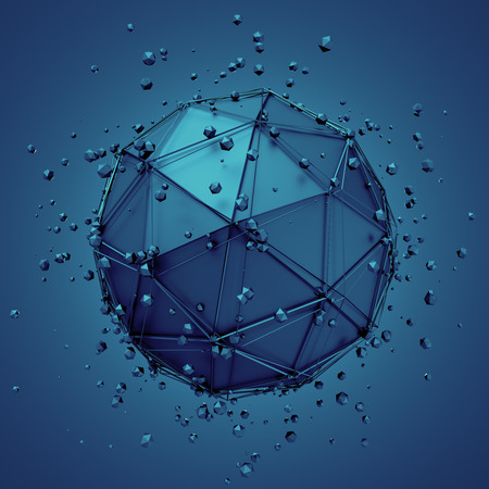 macros: Abstract 3d rendering of low poly metal sphere with chaotic structure. Sci-fi background with wireframe and globe in empty space. Futuristic shape.