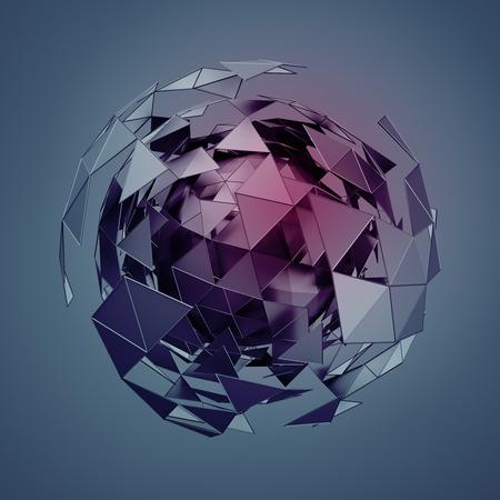 Abstract 3d rendu faible sphère de poly avec la structure chaotique. Sci-fi fond avec filaire et globe dans l'espace vide. Forme futuriste. Banque d'images - 47629097