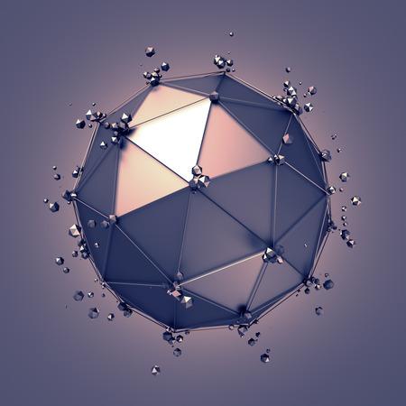 poligonos: Resumen representación 3D de baja esfera de metal poli con estructura caótica. Fondo de ciencia ficción con alambre y el globo en el espacio vacío. Forma futurista. Foto de archivo