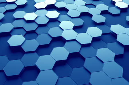 low perspective: Abstract 3d rendering of futuristic surface with hexagons. Blue sci-fi background.