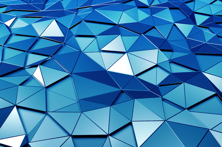 Abstract 3d rendering of blue surface. Background with futuristic polygonal shape. Stock Photo