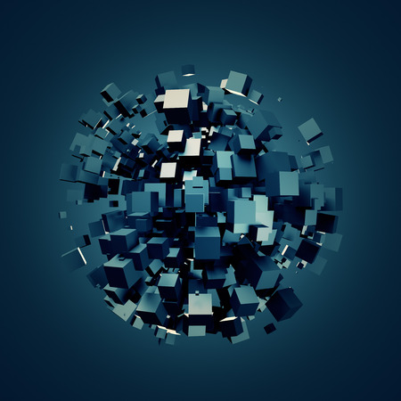 scifi: 3D rendering of dark cubes. Sci-fi background. Abstract sphere in empty space. Futuristic shape. Stock Photo