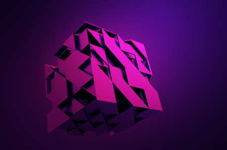 triangles: Abstract 3d rendering of flying cube. Sci fi shape in empty space. Futuristic background.