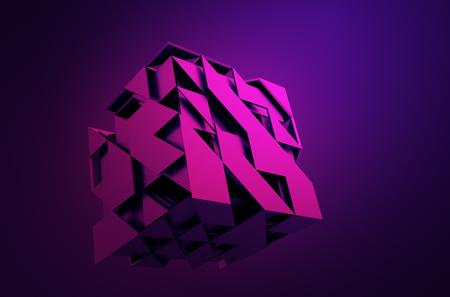 triangulo: Resumen representación 3D de cubo de volar. Sci fi forma en el espacio vacío. Fondo futurista.