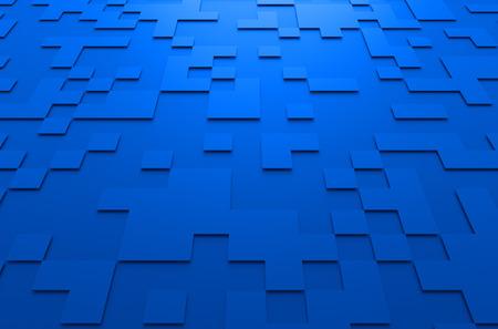 perspectiva lineal: Resumen de representación 3D de la superficie futurista azul con cuadrados. fondo de ciencia ficción. Foto de archivo