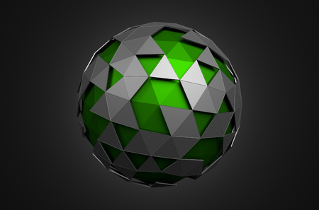 scifi: Abstract 3d rendering of low poly sphere with chaotic structure. Sci-fi background with wireframe and globe in empty space. Futuristic shape.