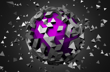 scifi: Abstract 3d rendering of low poly sphere with chaotic structure. Sci-fi background with globe in empty space. Futuristic shape.